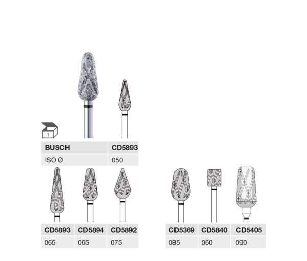 CD5893 050 HP, CD5893 065 HP, CD5894 065 HP, CD5892 075 HP, CD5369 085 HP, CD5840 060 HP, CD5405 090 HP BUSCH CD-Diamant Schleifer, super grobe Körnung