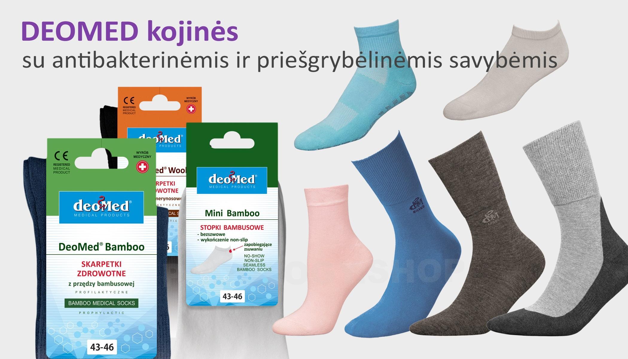 Kojinės su antibakterinėmis ir priešgrybėlinėmis savybėmis