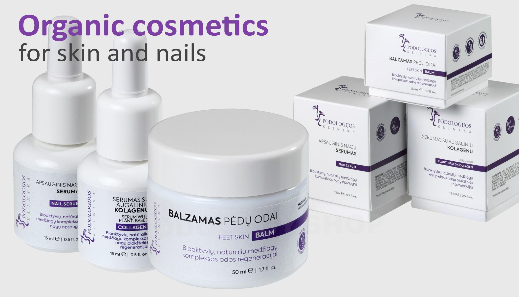 Organic cosmetics for skin and nails