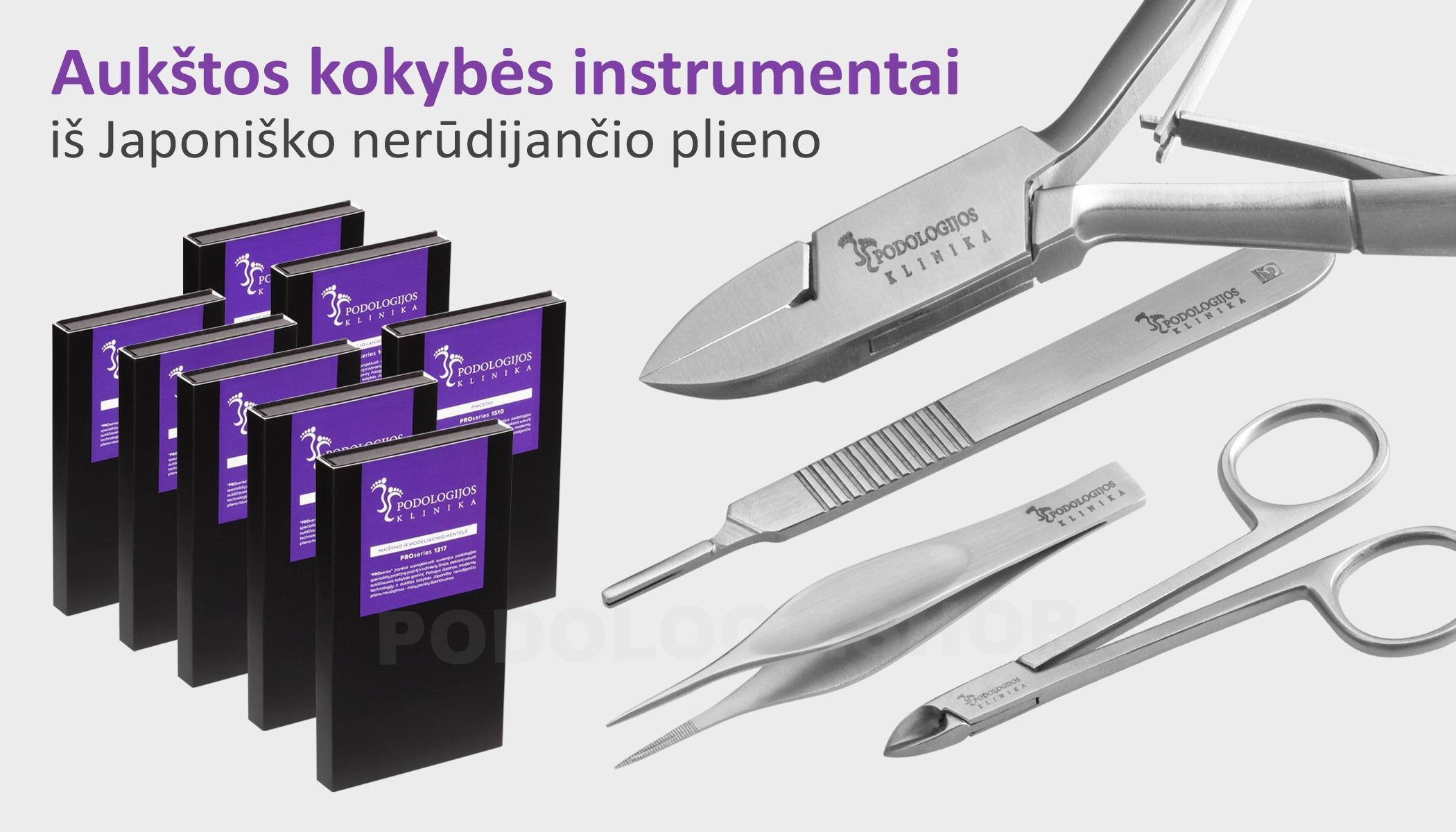 Podologijos klinika instrumentai